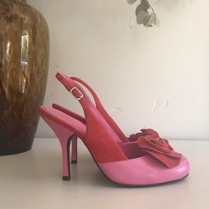 Pink & red leather heels. Never worn.